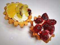 κέικ, μπισκότα, φρούτα, κρέμα, γλυκά, τρόφιμα, νόστιμα, Στοκ Φωτογραφία
