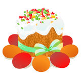 Κέικ Πάσχας, αυγά και χρωματισμένο κλαδίσκοι watercolor ιτιών Vectorized σχέδιο watercolor Στοκ εικόνα με δικαίωμα ελεύθερης χρήσης