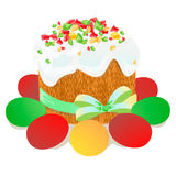 Κέικ Πάσχας, αυγά και χρωματισμένο κλαδίσκοι watercolor ιτιών Vectorized σχέδιο watercolor Στοκ Φωτογραφία