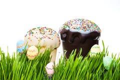 Κέικ Πάσχας και κρύψιμο αυγών Πάσχας στη χλόη Στοκ φωτογραφία με δικαίωμα ελεύθερης χρήσης