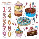 Κέικ που τίθεται με τα κεριά Διανυσματική απεικόνιση