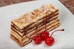 Κέικ πρωτεϊνικός-καρυδιών με τα κεράσια Στοκ Φωτογραφία