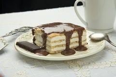 Κέικ σε ένα πιάτο με τη σάλτσα σοκολάτας Στοκ φωτογραφία με δικαίωμα ελεύθερης χρήσης