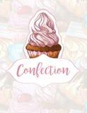 Κέικ σε ένα υπόβαθρο των γλυκών Σχέδιο για τα προϊόντα βιομηχανιών ζαχαρωδών προϊόντων χειροποίητος Στοκ φωτογραφία με δικαίωμα ελεύθερης χρήσης