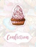 Κέικ σε ένα υπόβαθρο των γλυκών Σχέδιο για τα προϊόντα βιομηχανιών ζαχαρωδών προϊόντων χειροποίητος Συρμένοι χέρι δείκτες Στοκ Εικόνες