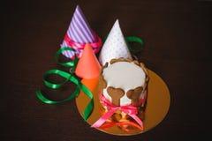 Κέικ σκυλιών που διακοσμείται με τα μπισκότα κόκκαλων και το καπέλο γενεθλίων Στοκ φωτογραφία με δικαίωμα ελεύθερης χρήσης