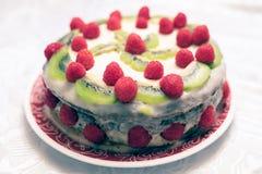 Κέικ σμέουρων και wiki στοκ φωτογραφία