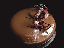 Κέικ σοκολάτας με τα λαμπρά πέταλα λούστρου και λουλουδιών καθρεφτών στοκ φωτογραφία με δικαίωμα ελεύθερης χρήσης