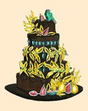 Κέικ σοκολάτας με το χρυσό που διακοσμείται με τα πουλιά ελεύθερη απεικόνιση δικαιώματος