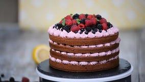 Κέικ σοκολάτας που διακοσμείται με τα μούρα Κέικ θερινών μούρων φιλμ μικρού μήκους