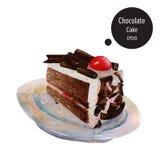 Κέικ σοκολάτας με τη ζελατίνα κρέμας στο watercolor πιάτων που χρωματίζει vec Στοκ Εικόνα