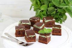 Κέικ σοκολάτας με τη μέντα Στοκ Εικόνες