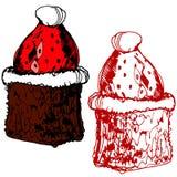 Κέικ σοκολάτας με τη φράουλα και την κρέμα διανυσματική απεικόνιση