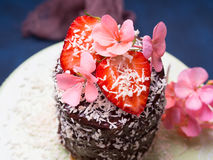 Κέικ σοκολάτας με το ντεκόρ λουλουδιών φραουλών Στοκ φωτογραφία με δικαίωμα ελεύθερης χρήσης