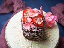Κέικ σοκολάτας με το ντεκόρ λουλουδιών φραουλών Στοκ Εικόνες