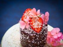 Κέικ σοκολάτας με το ντεκόρ λουλουδιών φραουλών Στοκ εικόνα με δικαίωμα ελεύθερης χρήσης