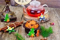 Κέικ σοκολάτας στα Χριστούγεννα, νέο έτος Στοκ Εικόνες