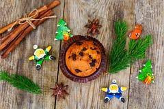 Κέικ σοκολάτας στα Χριστούγεννα, νέο έτος Στοκ Εικόνα