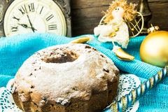 Κέικ σοκολάτας στα Χριστούγεννα, νέο υπόβαθρο έτους Στοκ εικόνα με δικαίωμα ελεύθερης χρήσης