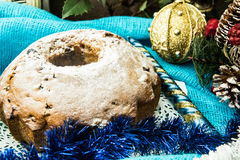 Κέικ σοκολάτας στα Χριστούγεννα, νέο υπόβαθρο έτους Στοκ Φωτογραφία
