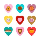 Κέικ στις καρδιές που απομονώνονται πέρα από το λευκό ελεύθερη απεικόνιση δικαιώματος