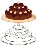 Κέικ στο πιάτο Στοκ Εικόνες