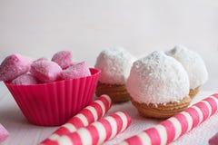 Κέικ στο ροζ τσιπ και καραμελών καρύδων Στοκ Εικόνα