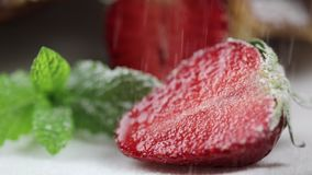 Κέικ στρώματος με τη μέντα, φράουλα Το χέρι αρχιμαγείρων ` s που ψεκάζει τη σκόνη ζάχαρης επιδορπίων Νόστιμο κέικ στρώματος, μακρ απόθεμα βίντεο