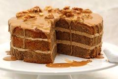 Κέικ στρώματος ξύλων καρυδιάς καφέ Στοκ φωτογραφία με δικαίωμα ελεύθερης χρήσης