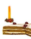 Κέικ σφουγγαριών και κερί κεριών Στοκ εικόνα με δικαίωμα ελεύθερης χρήσης