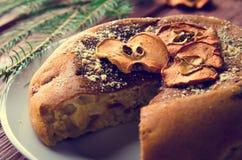 Κέικ της Apple με τα ξηρά φρούτα, διακόσμηση Χριστουγέννων Στοκ φωτογραφίες με δικαίωμα ελεύθερης χρήσης