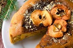 Κέικ της Apple με τα ξηρά φρούτα, διακόσμηση Χριστουγέννων Στοκ εικόνα με δικαίωμα ελεύθερης χρήσης