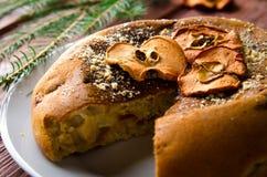 Κέικ της Apple με τα ξηρά φρούτα, διακόσμηση Χριστουγέννων Στοκ Εικόνες