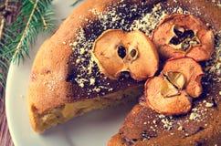 Κέικ της Apple με τα ξηρά φρούτα, διακόσμηση Χριστουγέννων Στοκ Εικόνα