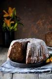 Κέικ της Apple με τις σταφίδες στο λούστρο ζάχαρης Στοκ εικόνες με δικαίωμα ελεύθερης χρήσης