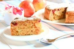 Κέικ της Apple Σαρλόττα που διακοσμείται με τα λουλούδια Στοκ εικόνα με δικαίωμα ελεύθερης χρήσης