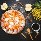 Κέικ της Apple, φρούτα και φλυτζάνι καφέ στο σκοτεινό υπόβαθρο Επίπεδος βάλτε, τοπ άποψη Στοκ Φωτογραφία