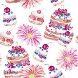 Κέικ, τρόφιμα, γλυκά, λουλούδια Άνευ ραφής σχέδιο Watercolor Στοκ Φωτογραφία