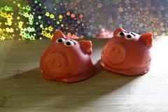 Κέικ υπό μορφή ροζ piggy Στοκ Εικόνα