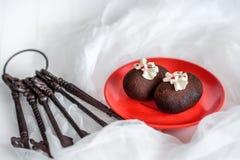 Κέικ φιαγμένα από σοκολάτα σε ένα κόκκινο πιάτο σε ένα άσπρο υπόβαθρο Κέικ που διακοσμούνται με την κόκκινη ζελατίνα και τη λεπτή Στοκ εικόνες με δικαίωμα ελεύθερης χρήσης