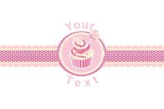 Κέικ φλυτζανιών σε ένα ροζ διανυσματική απεικόνιση