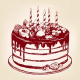 Κέικ φρούτων, γενέθλια, επιδόρπιο, σύμβολο των διακοπών, συρμένο χέρι διανυσματικό ρεαλιστικό σκίτσο απεικόνισης Στοκ εικόνες με δικαίωμα ελεύθερης χρήσης