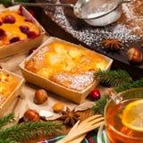 Κέικ φρούτων διακοπών Χριστουγέννων Στοκ Φωτογραφία