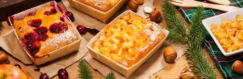 Κέικ φρούτων διακοπών Χριστουγέννων Στοκ Εικόνες