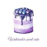 Κέικ φρούτων Watercolor διανυσματική απεικόνιση