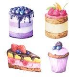 Κέικ φρούτων Watercolor απεικόνιση αποθεμάτων