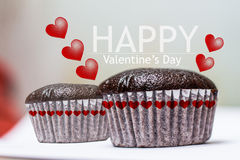 Κέικ φλυτζανιών babana ημέρας του ευτυχούς βαλεντίνου choccolate Στοκ Εικόνες