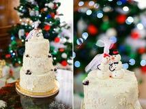 Κέικ χειμερινού γάμου στοκ εικόνα