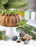 Κέικ Χριστουγέννων με τα τα βακκίνια Στοκ Εικόνες