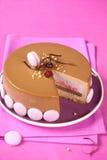 Κέικ Entremet σοκολάτας της Apple, βακκινίων και γάλακτος Στοκ Φωτογραφία